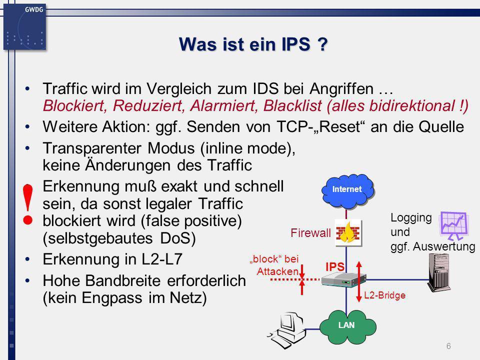 6 Was ist ein IPS ? Traffic wird im Vergleich zum IDS bei Angriffen … Blockiert, Reduziert, Alarmiert, Blacklist (alles bidirektional !) Weitere Aktio