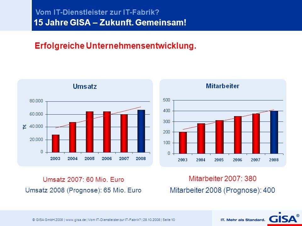 © GISA GmbH 2008 | www.gisa.de | Vom IT-Dienstleister zur IT-Fabrik? | 28.10.2008 | Seite 10 Vom IT-Dienstleister zur IT-Fabrik? Erfolgreiche Unterneh