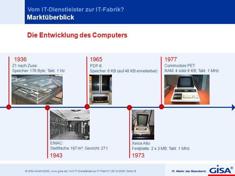 © GISA GmbH 2008 | www.gisa.de | Vom IT-Dienstleister zur IT-Fabrik? | 28.10.2008 | Seite 16 Vom IT-Dienstleister zur IT-Fabrik? 19431973 Z1 nach Zuse