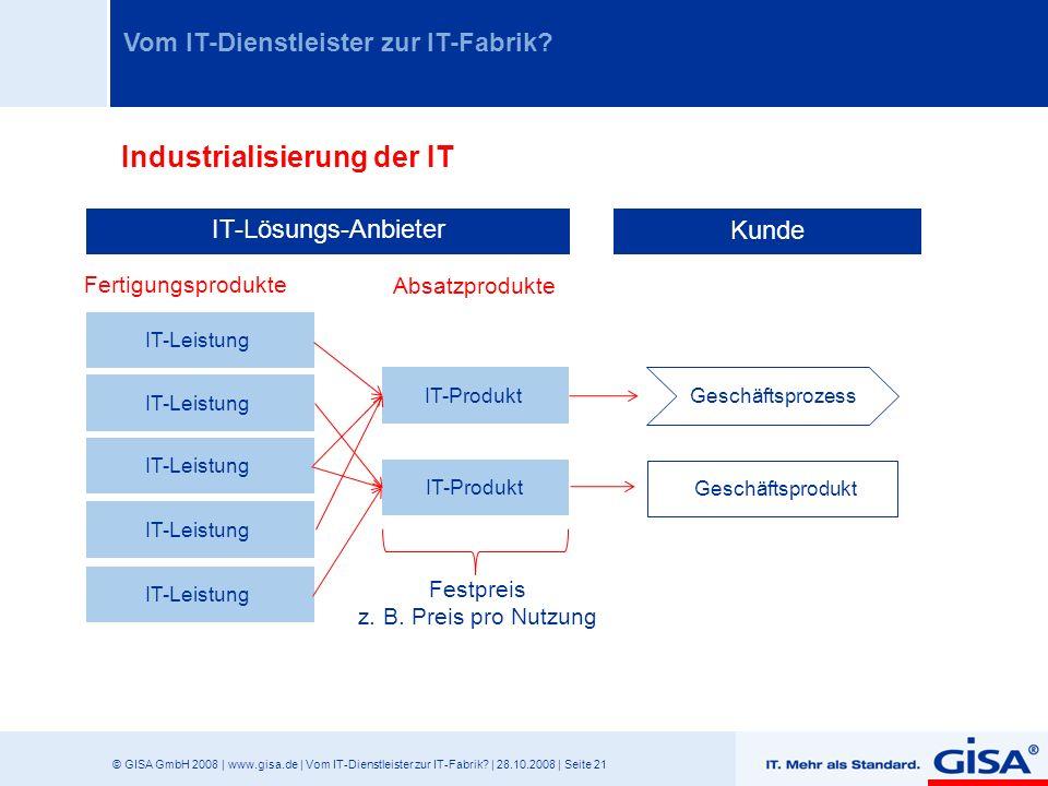 © GISA GmbH 2008 | www.gisa.de | Vom IT-Dienstleister zur IT-Fabrik? | 28.10.2008 | Seite 21 Vom IT-Dienstleister zur IT-Fabrik? IT-Lösungs-Anbieter K