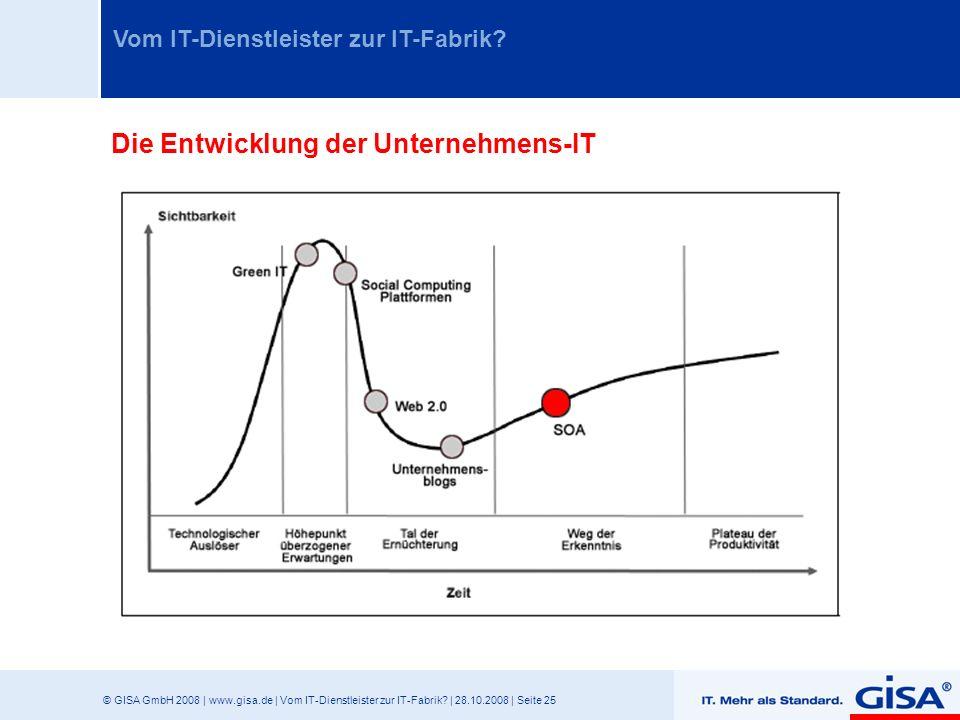 © GISA GmbH 2008 | www.gisa.de | Vom IT-Dienstleister zur IT-Fabrik? | 28.10.2008 | Seite 25 Vom IT-Dienstleister zur IT-Fabrik? Die Entwicklung der U