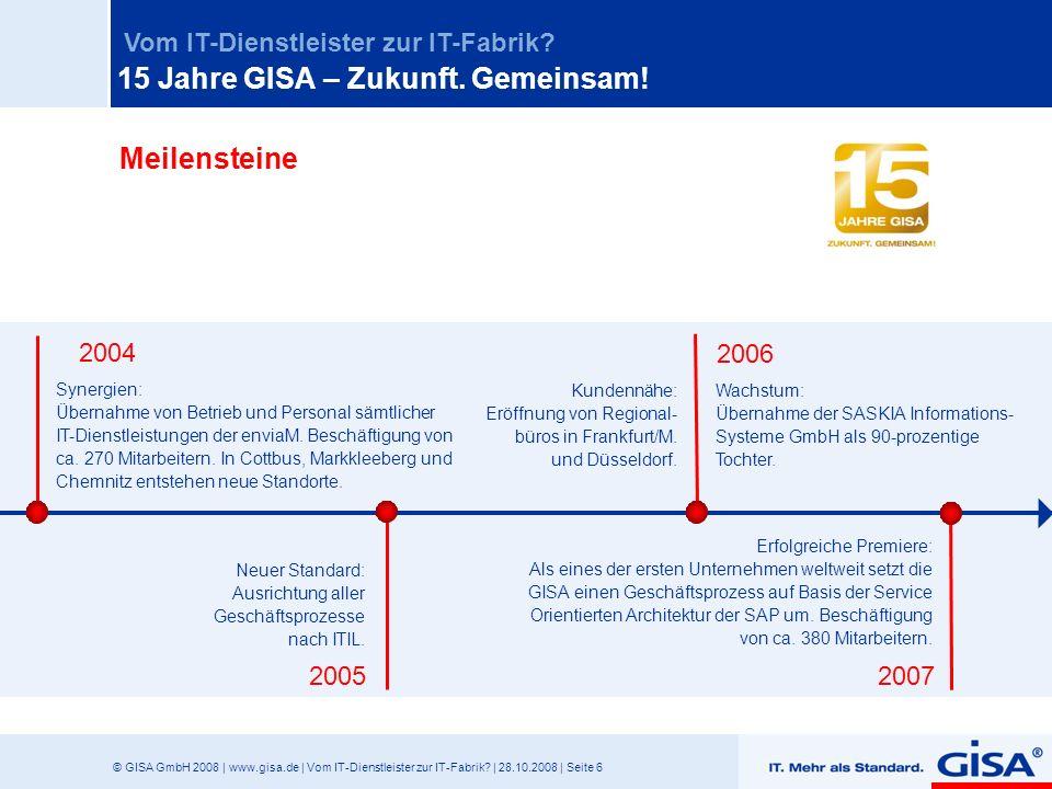© GISA GmbH 2008 | www.gisa.de | Vom IT-Dienstleister zur IT-Fabrik? | 28.10.2008 | Seite 6 Vom IT-Dienstleister zur IT-Fabrik? 2005 2007 2004 2006 Sy