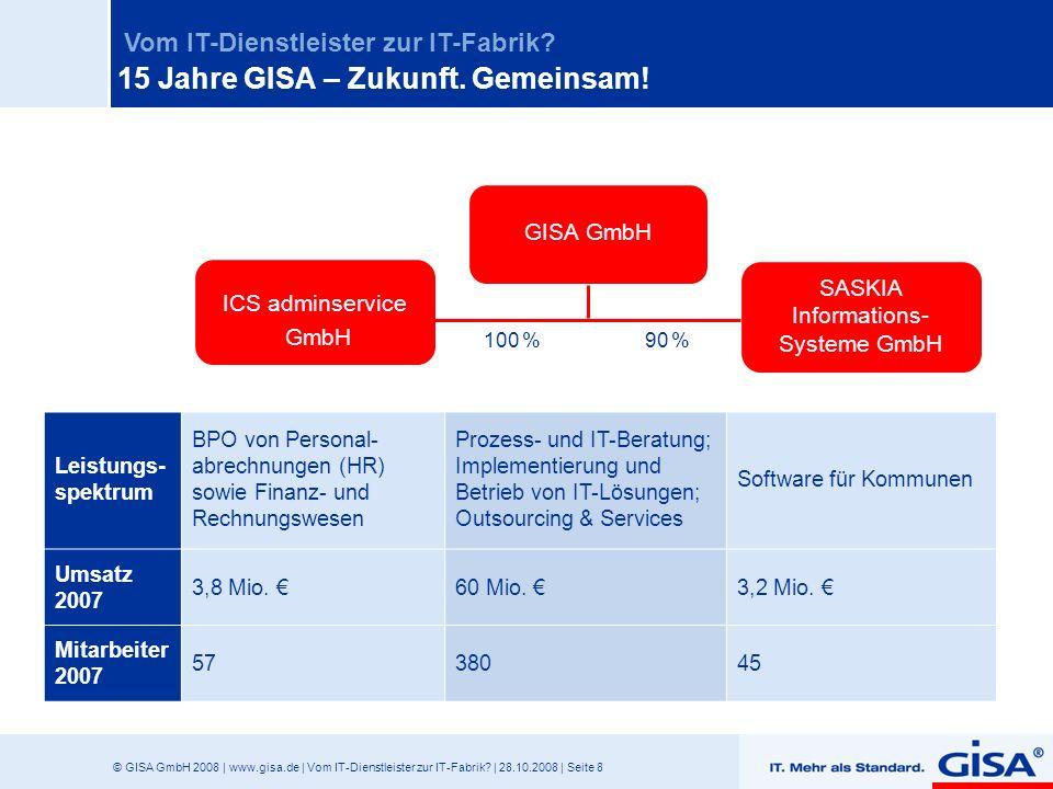 © GISA GmbH 2008 | www.gisa.de | Vom IT-Dienstleister zur IT-Fabrik? | 28.10.2008 | Seite 8 Vom IT-Dienstleister zur IT-Fabrik? Leistungs- spektrum BP