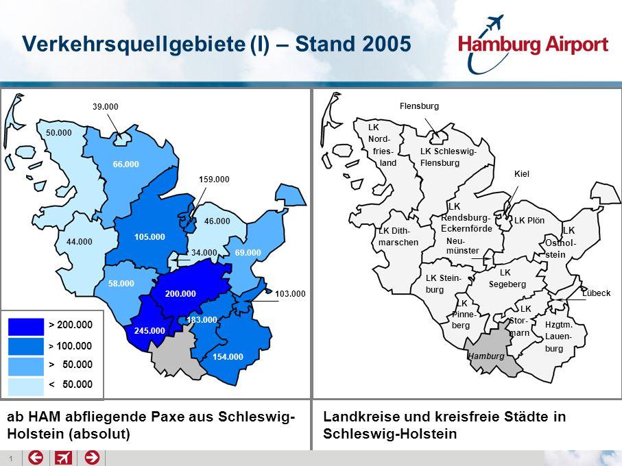 1 Verkehrsquellgebiete (I) – Stand 2005 > 200.000 > 100.000 > 50.000 < 50.000 200.000 154.000 245.000 183.000 105.000 69.000 58.000 66.000 159.000 103.000 46.000 44.000 50.000 39.000 34.000 LK Dith- marschen LK Stein- burg LK Rendsburg- Eckernförde LK Segeberg Hzgtm.