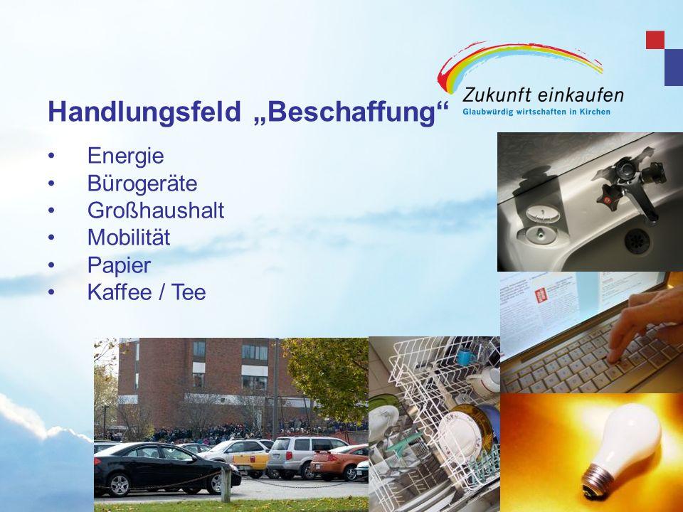 Copyright: EKvW 2008 Beispiel: Mobilität Einkaufsvolumen Kirchliche Dienstfahrzeuge und dienstlich genutzter Fahrzeuge /a: 120.000 Kfz Einsparvolumen durch Kauf der sparsamsten Modelle und effiziente Fahrweise: 30% des Treibstoffes 81.000 t CO 2 42.