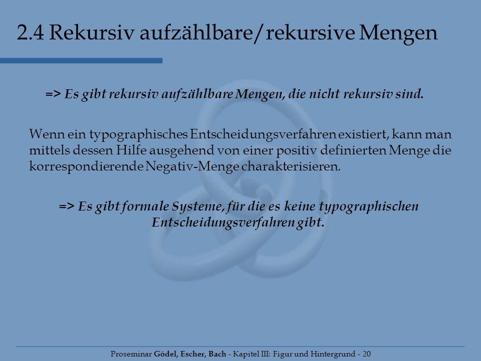 2.4 Rekursiv aufzählbare/rekursive Mengen Proseminar Gödel, Escher, Bach - Kapitel III: Figur und Hintergrund - 20 => Es gibt rekursiv aufzählbare Men