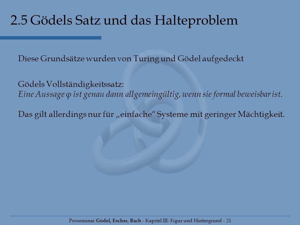 2.5 Gödels Satz und das Halteproblem Proseminar Gödel, Escher, Bach - Kapitel III: Figur und Hintergrund - 21 Diese Grundsätze wurden von Turing und G