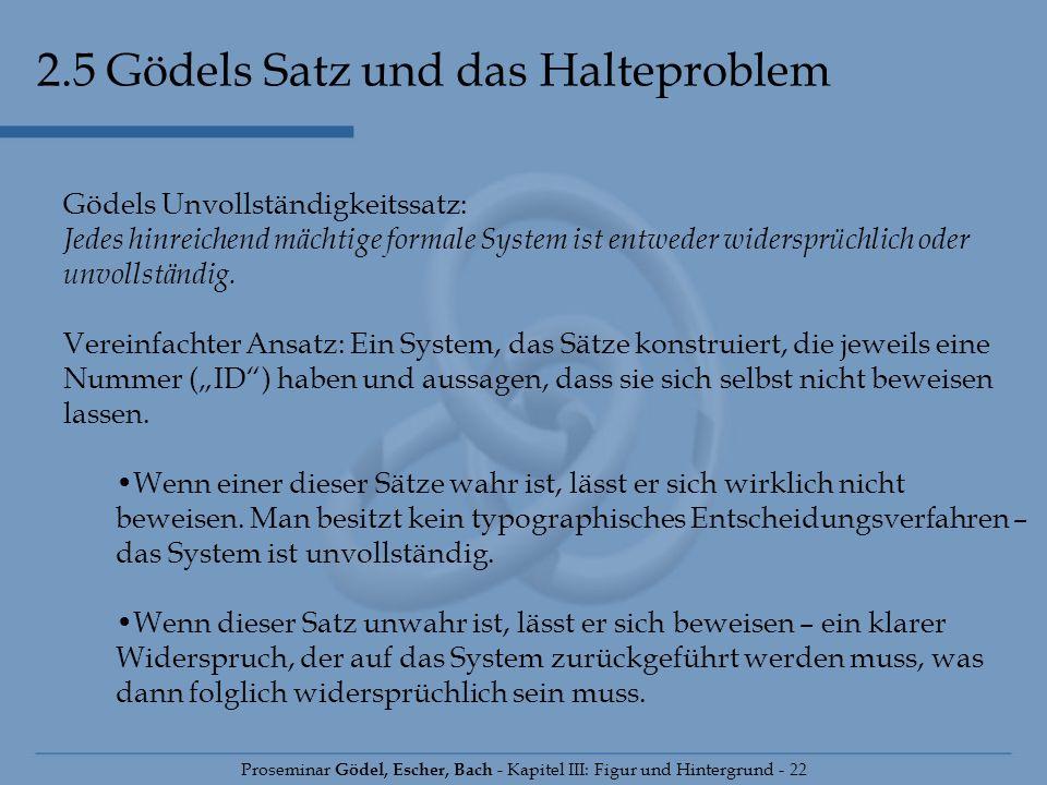 2.5 Gödels Satz und das Halteproblem Proseminar Gödel, Escher, Bach - Kapitel III: Figur und Hintergrund - 22 Gödels Unvollständigkeitssatz: Jedes hin