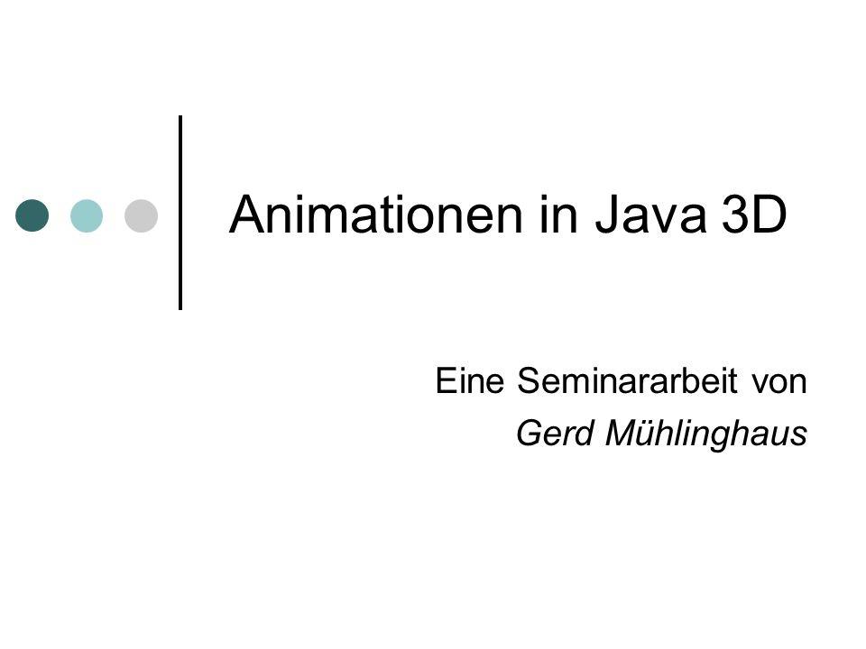 Inhalt dieses Vortrags Grundlagen der Animation in Java 3D Animationsarten Alpha Objekt Interpolatoren Billboard Level of Detail Morph