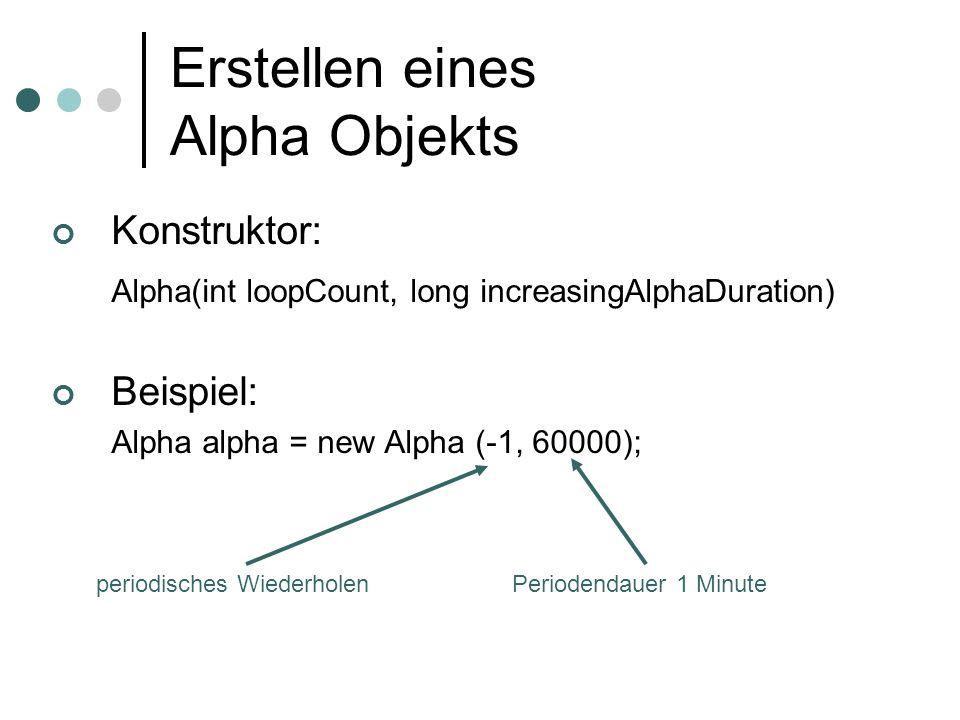 Erstellen eines Alpha Objekts Konstruktor: Alpha(int loopCount, long increasingAlphaDuration) Beispiel: Alpha alpha = new Alpha (-1, 60000); periodisc
