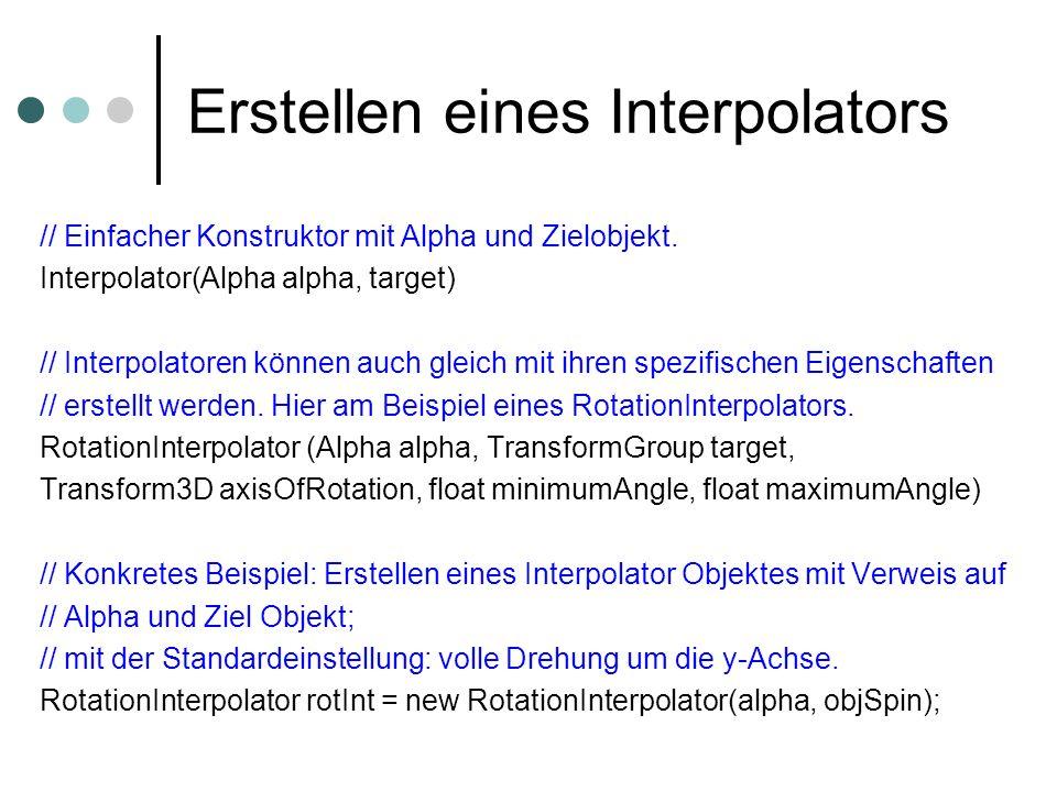 Erstellen eines Interpolators // Einfacher Konstruktor mit Alpha und Zielobjekt. Interpolator(Alpha alpha, target) // Interpolatoren können auch gleic