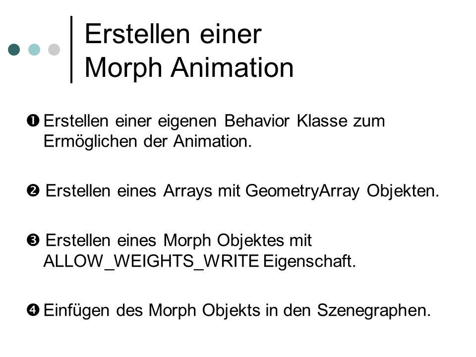Erstellen einer Morph Animation Erstellen einer eigenen Behavior Klasse zum Ermöglichen der Animation. Erstellen eines Arrays mit GeometryArray Objekt