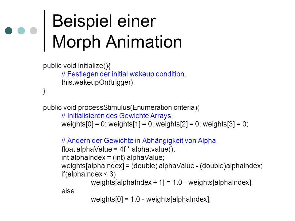 Beispiel einer Morph Animation public void initialize(){ // Festlegen der initial wakeup condition. this.wakeupOn(trigger); } public void processStimu