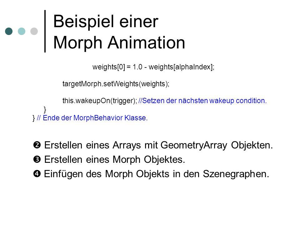 Beispiel einer Morph Animation weights[0] = 1.0 - weights[alphaIndex]; targetMorph.setWeights(weights); this.wakeupOn(trigger); //Setzen der nächsten