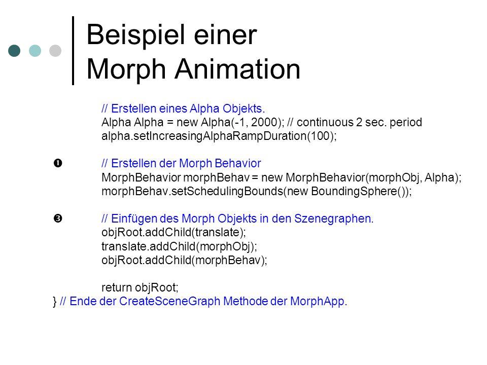 Beispiel einer Morph Animation // Erstellen eines Alpha Objekts. Alpha Alpha = new Alpha(-1, 2000); // continuous 2 sec. period alpha.setIncreasingAlp