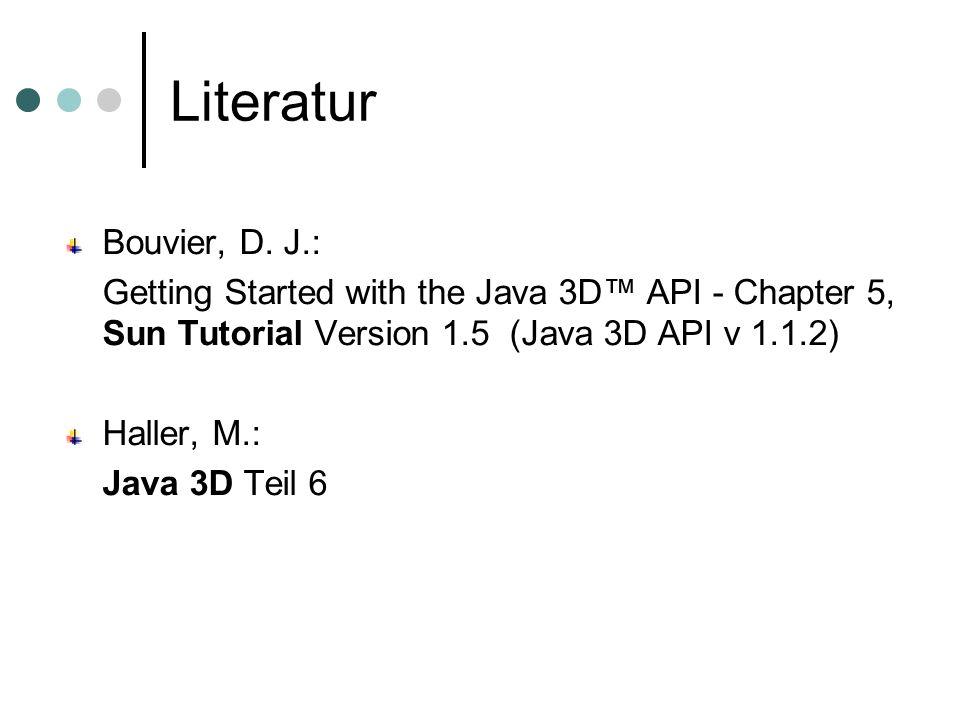 Literatur Bouvier, D. J.: Getting Started with the Java 3D API - Chapter 5, Sun Tutorial Version 1.5 (Java 3D API v 1.1.2) Haller, M.: Java 3D Teil 6