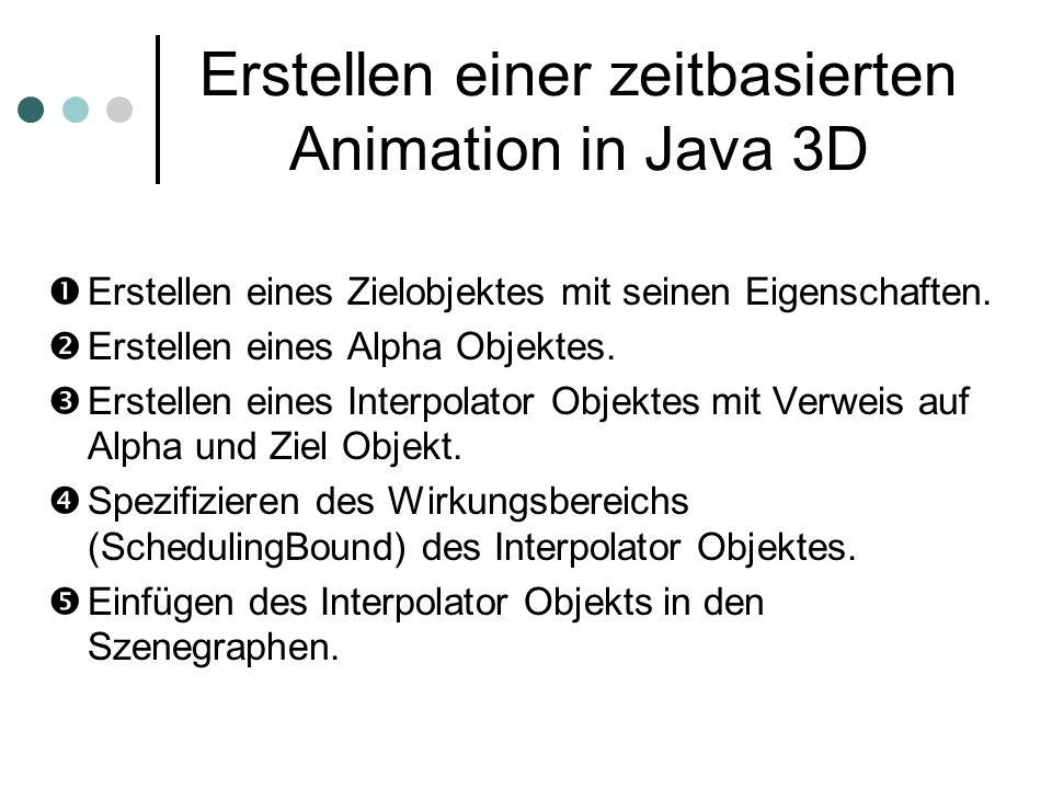 Erstellen einer zeitbasierten Animation in Java 3D Erstellen eines Zielobjektes mit seinen Eigenschaften. Erstellen eines Alpha Objektes. Erstellen ei