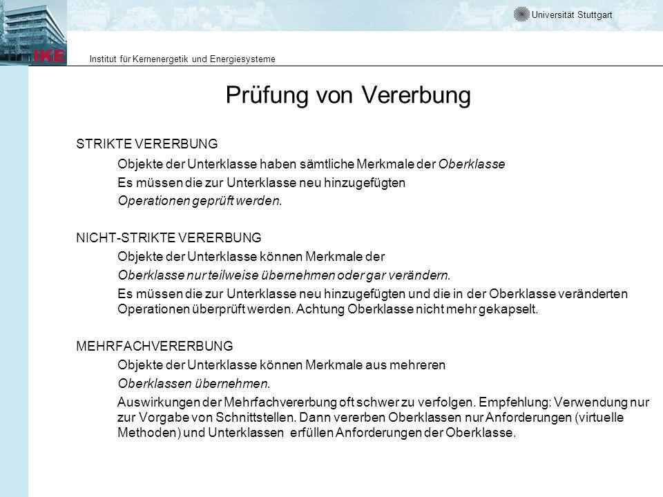 Universität Stuttgart Institut für Kernenergetik und Energiesysteme Prüfung von Vererbung STRIKTE VERERBUNG Objekte der Unterklasse haben sämtliche Me