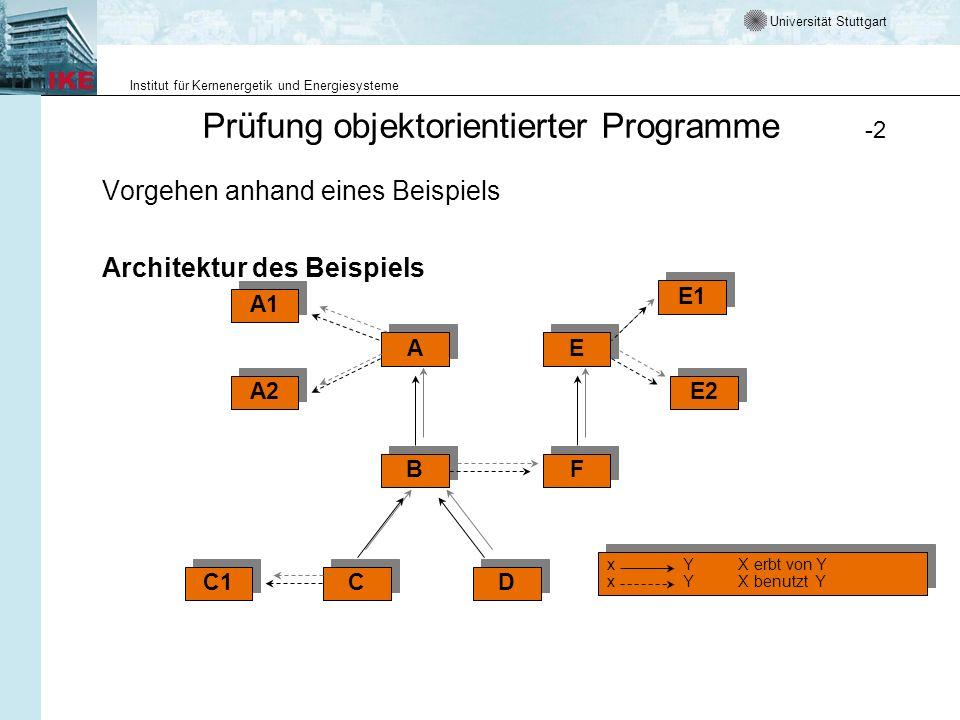 Universität Stuttgart Institut für Kernenergetik und Energiesysteme Prüfung objektorientierter Programme -3 PRÜFUNG - PRINZIP Betrachtet man die Verflechtung von benutzt-Relationen und Vererbung, so ist es sinnvoll, beim Prüfen zuerst die Klassen entlang der benutzt-Relation (top-down), dann die Klassen entlang dem Vererbungspfad zu betrachten.