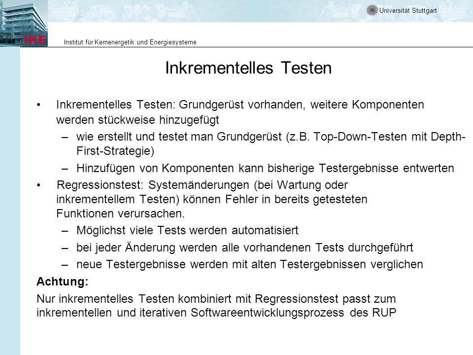 Universität Stuttgart Institut für Kernenergetik und Energiesysteme Inkrementelles Testen Inkrementelles Testen: Grundgerüst vorhanden, weitere Kompon