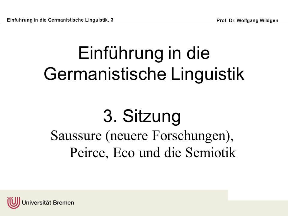 Einführung in die Germanistische Linguistik, 3 Prof. Dr. Wolfgang Wildgen Einführung in die Germanistische Linguistik 3. Sitzung Saussure (neuere Fors