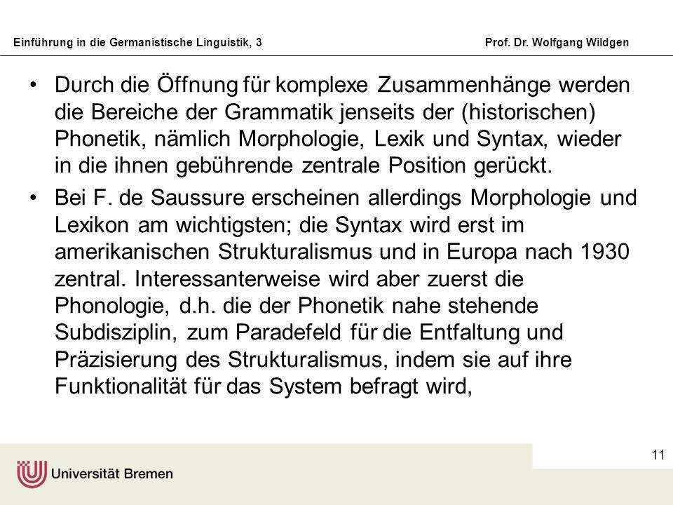 Einführung in die Germanistische Linguistik, 3Prof. Dr. Wolfgang Wildgen 11 Durch die Öffnung für komplexe Zusammenhänge werden die Bereiche der Gramm