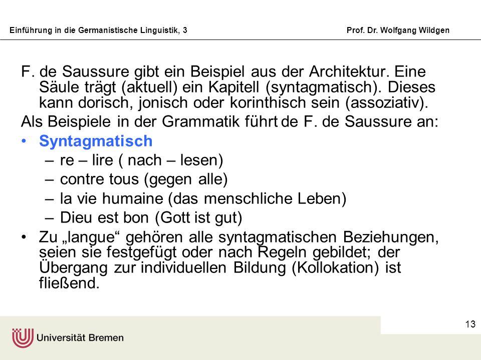 Einführung in die Germanistische Linguistik, 3Prof. Dr. Wolfgang Wildgen 13 F. de Saussure gibt ein Beispiel aus der Architektur. Eine Säule trägt (ak