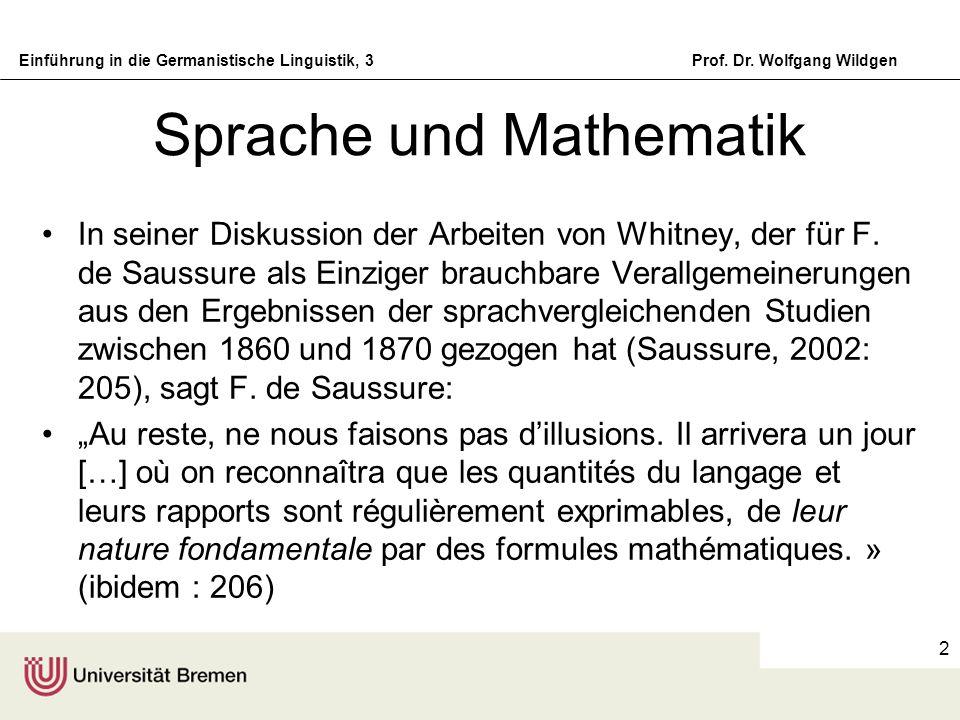 Einführung in die Germanistische Linguistik, 3Prof. Dr. Wolfgang Wildgen 2 Sprache und Mathematik In seiner Diskussion der Arbeiten von Whitney, der f