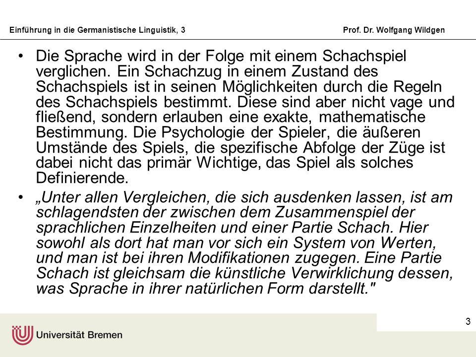 Einführung in die Germanistische Linguistik, 3Prof. Dr. Wolfgang Wildgen 3 Die Sprache wird in der Folge mit einem Schachspiel verglichen. Ein Schachz