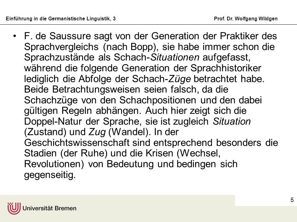 Einführung in die Germanistische Linguistik, 3Prof. Dr. Wolfgang Wildgen 5 F. de Saussure sagt von der Generation der Praktiker des Sprachvergleichs (