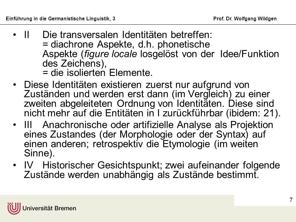 Einführung in die Germanistische Linguistik, 3Prof. Dr. Wolfgang Wildgen 7 IIDie transversalen Identitäten betreffen: = diachrone Aspekte, d.h. phonet