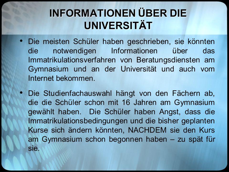 INFORMATIONEN ÜBER DIE UNIVERSITÄT Die meisten Schüler haben geschrieben, sie könnten die notwendigen Informationen über das Immatrikulationsverfahren