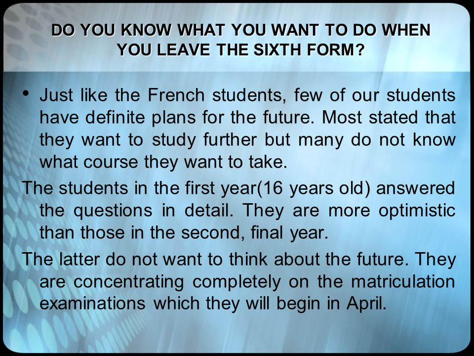 DO YOU KNOW WHAT YOU WANT TO DO WHEN YOU LEAVE THE SIXTH FORM? Just like the French students, few of our students have definite plans for the future.