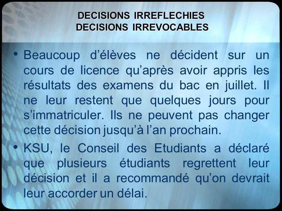 DECISIONS IRREFLECHIES DECISIONS IRREVOCABLES Beaucoup délèves ne décident sur un cours de licence quaprès avoir appris les résultats des examens du b