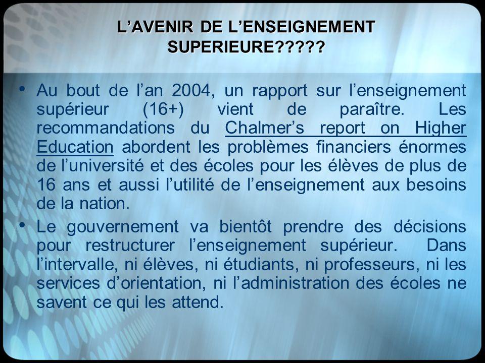 LAVENIR DE LENSEIGNEMENT SUPERIEURE????? Au bout de lan 2004, un rapport sur lenseignement supérieur (16+) vient de paraître. Les recommandations du C