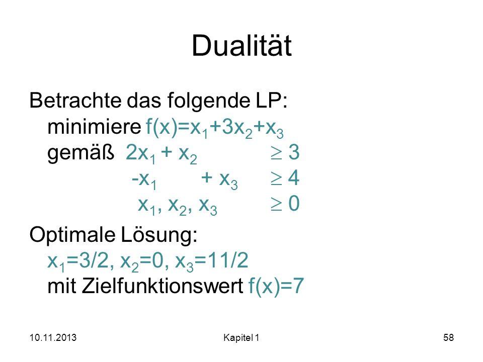 Dualität Betrachte das folgende LP: minimiere f(x)=x 1 +3x 2 +x 3 gemäß2x 1 + x 2 3 -x 1 + x 3 4 x 1, x 2, x 3 0 Optimale Lösung: x 1 =3/2, x 2 =0, x