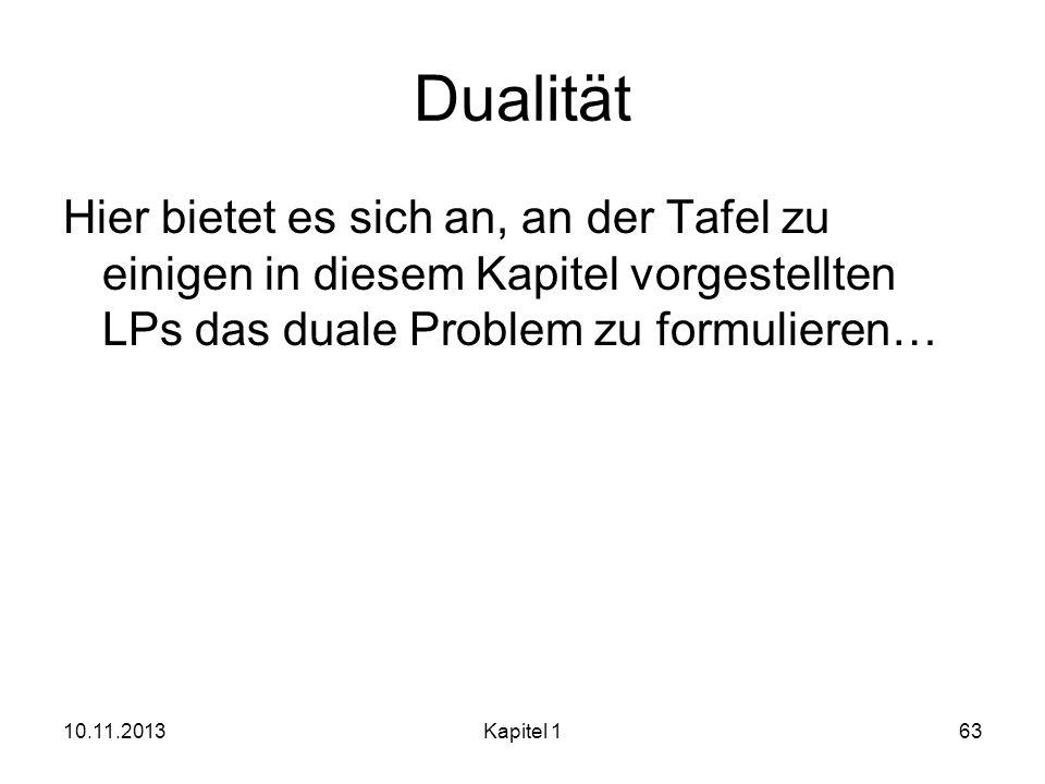 Dualität Hier bietet es sich an, an der Tafel zu einigen in diesem Kapitel vorgestellten LPs das duale Problem zu formulieren… 10.11.2013Kapitel 163