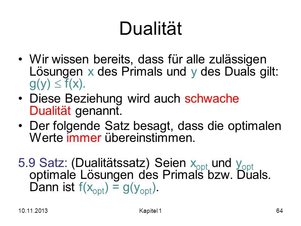 Dualität Wir wissen bereits, dass für alle zulässigen Lösungen x des Primals und y des Duals gilt: g(y) f(x). Diese Beziehung wird auch schwache Duali