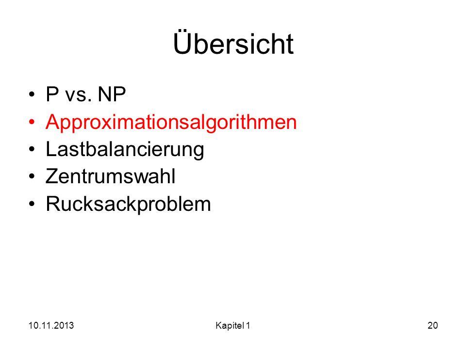 10.11.2013Kapitel 120 Übersicht P vs. NP Approximationsalgorithmen Lastbalancierung Zentrumswahl Rucksackproblem