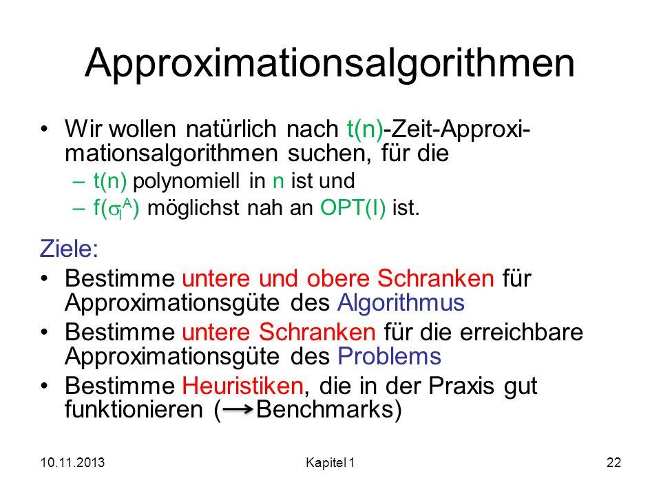 Approximationsalgorithmen Wir wollen natürlich nach t(n)-Zeit-Approxi- mationsalgorithmen suchen, für die –t(n) polynomiell in n ist und –f( I A ) mög