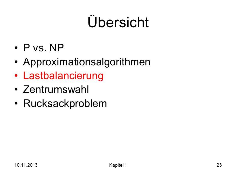 10.11.2013Kapitel 123 Übersicht P vs. NP Approximationsalgorithmen Lastbalancierung Zentrumswahl Rucksackproblem