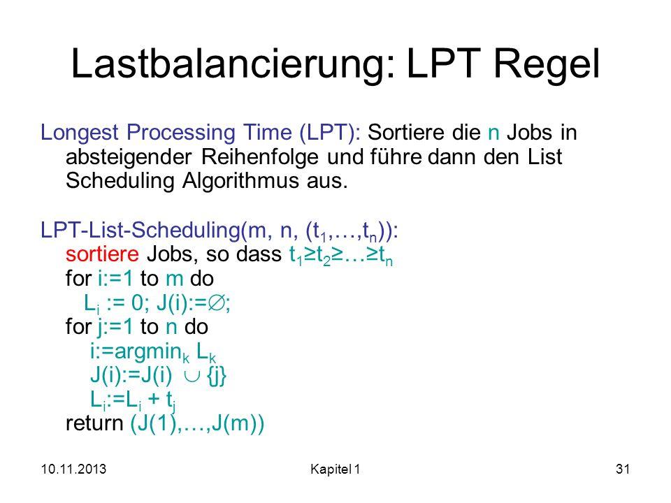 10.11.2013Kapitel 131 Lastbalancierung: LPT Regel Longest Processing Time (LPT): Sortiere die n Jobs in absteigender Reihenfolge und führe dann den Li
