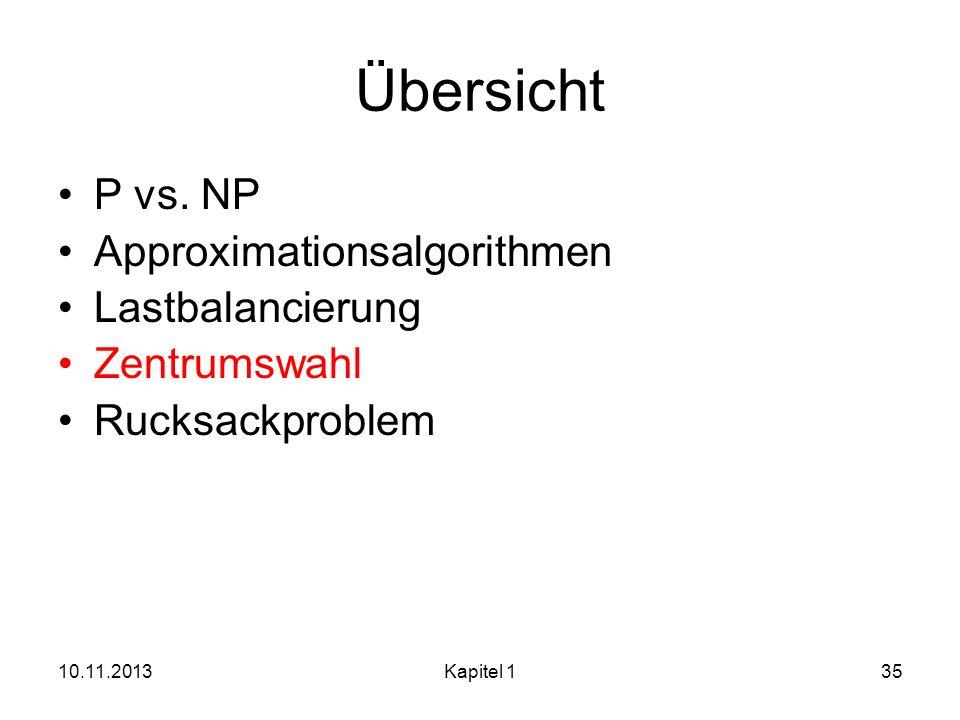 10.11.2013Kapitel 135 Übersicht P vs. NP Approximationsalgorithmen Lastbalancierung Zentrumswahl Rucksackproblem