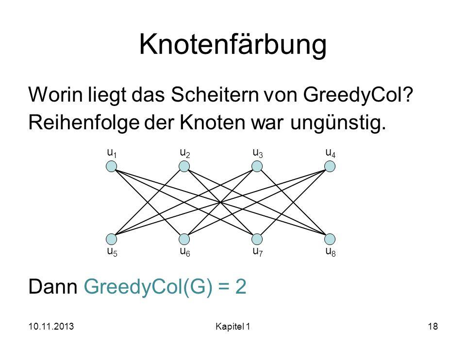 Knotenfärbung Worin liegt das Scheitern von GreedyCol? Reihenfolge der Knoten war ungünstig. Dann GreedyCol(G) = 2 10.11.2013Kapitel 118 u1u1 u2u2 u3u