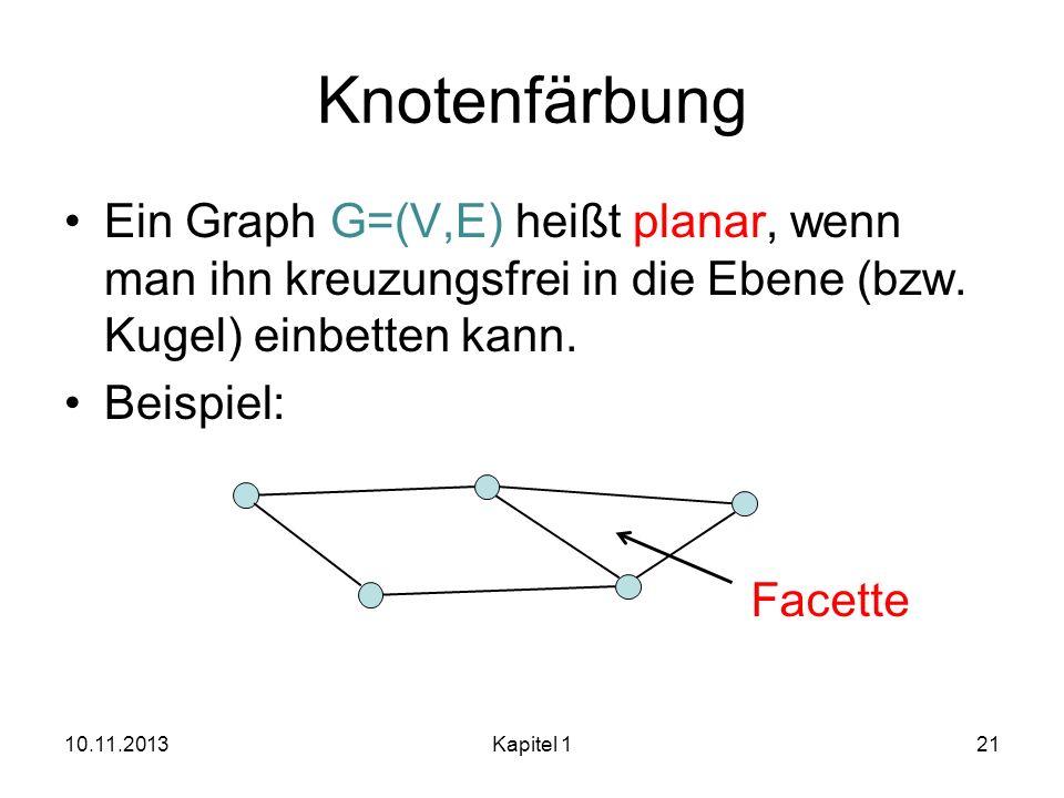 Knotenfärbung Ein Graph G=(V,E) heißt planar, wenn man ihn kreuzungsfrei in die Ebene (bzw. Kugel) einbetten kann. Beispiel: 10.11.2013Kapitel 121 Fac