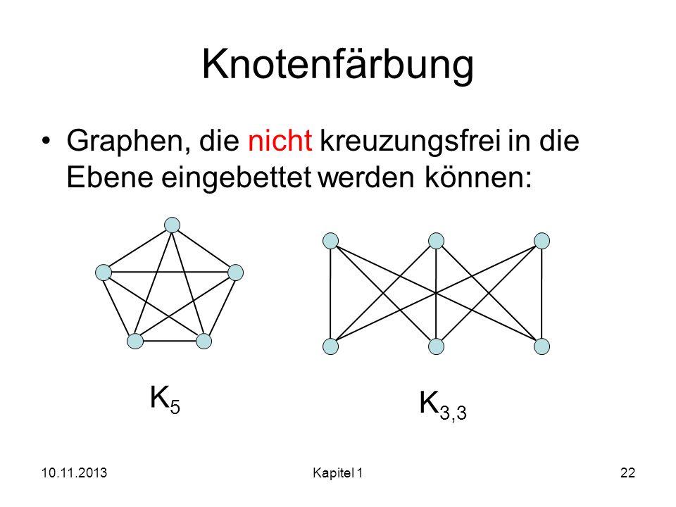 Knotenfärbung Graphen, die nicht kreuzungsfrei in die Ebene eingebettet werden können: 10.11.2013Kapitel 122 K5K5 K 3,3
