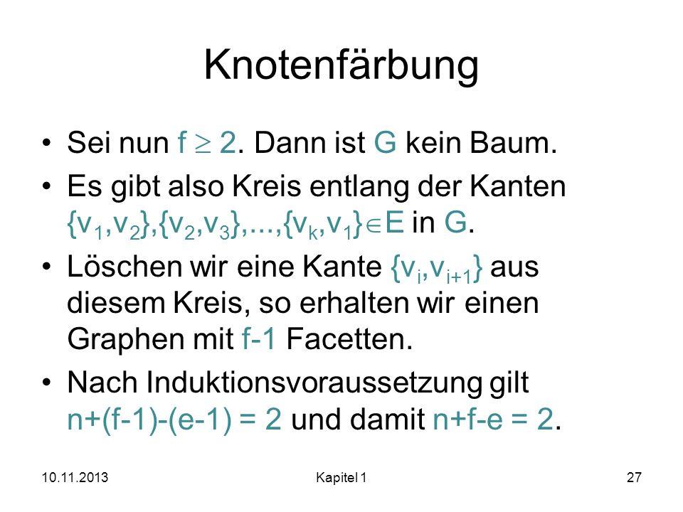 Knotenfärbung Sei nun f 2. Dann ist G kein Baum. Es gibt also Kreis entlang der Kanten {v 1,v 2 },{v 2,v 3 },...,{v k,v 1 } E in G. Löschen wir eine K