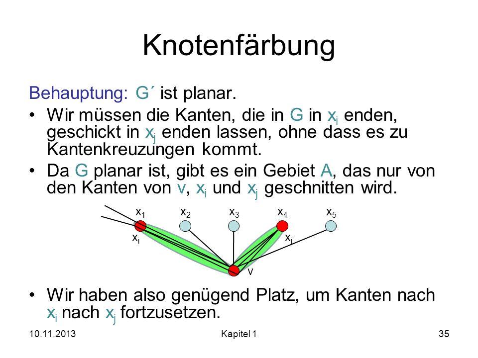 Knotenfärbung Behauptung: G´ ist planar. Wir müssen die Kanten, die in G in x i enden, geschickt in x j enden lassen, ohne dass es zu Kantenkreuzungen