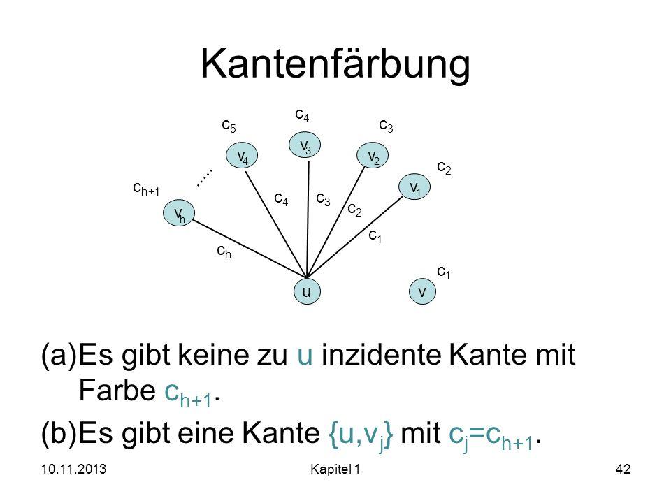 Kantenfärbung (a)Es gibt keine zu u inzidente Kante mit Farbe c h+1. (b)Es gibt eine Kante {u,v j } mit c j =c h+1. 10.11.2013Kapitel 142 u v 1 v 2 v