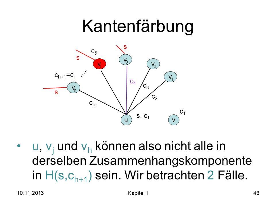 Kantenfärbung u, v j und v h können also nicht alle in derselben Zusammenhangskomponente in H(s,c h+1 ) sein. Wir betrachten 2 Fälle. 10.11.2013Kapite